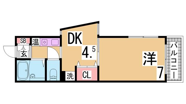 物件番号: 1111287984  神戸市須磨区須磨浦通2丁目 1K ハイツ 間取り図