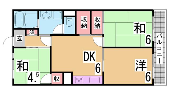 物件番号: 1111287990  神戸市長田区平和台町3丁目 1LDK アパート 間取り図
