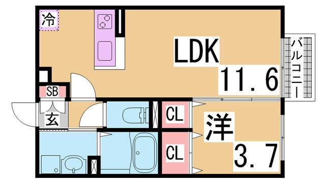 物件番号: 1111287991 プティ・リヴィエール  神戸市長田区平和台町3丁目 1LDK アパート 間取り図