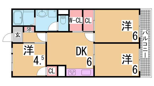 物件番号: 1111287999  神戸市兵庫区松原通1丁目 1LDK ハイツ 間取り図