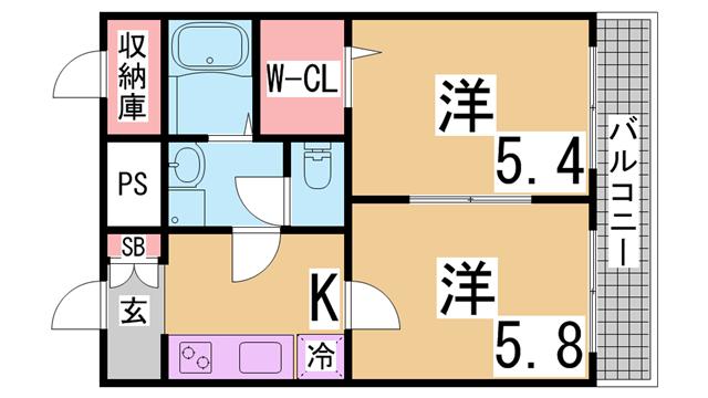 物件番号: 1111288001  神戸市北区谷上西町 2K マンション 間取り図