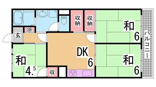 物件番号: 1111288006  神戸市北区泉台7丁目 2LDK マンション 間取り図