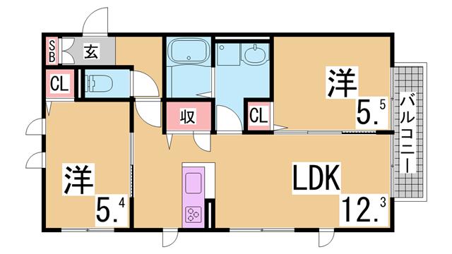 物件番号: 1111288017  神戸市北区鈴蘭台西町5丁目 2LDK ハイツ 間取り図
