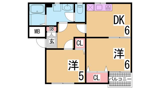 物件番号: 1111288028  神戸市須磨区大田町6丁目 2DK アパート 間取り図