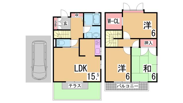 物件番号: 1111288100  神戸市須磨区高倉台8丁目 3LDK テラスハウス 間取り図