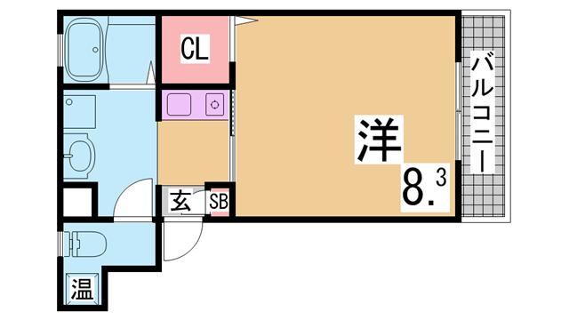 物件番号: 1111288291  神戸市中央区神若通1丁目 1K ハイツ 間取り図