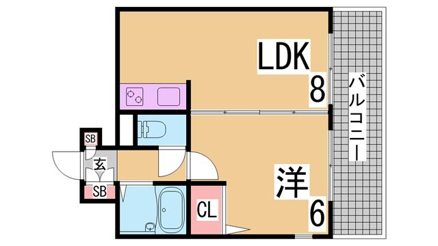 物件番号: 1111288327 ニューキャッスル  神戸市長田区久保町3丁目 1LDK マンション 間取り図