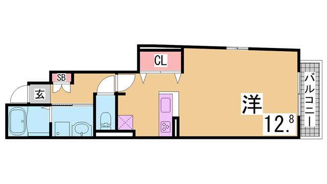 物件番号: 1111288356 フォルテ月見山  神戸市須磨区月見山本町2丁目 1K アパート 間取り図