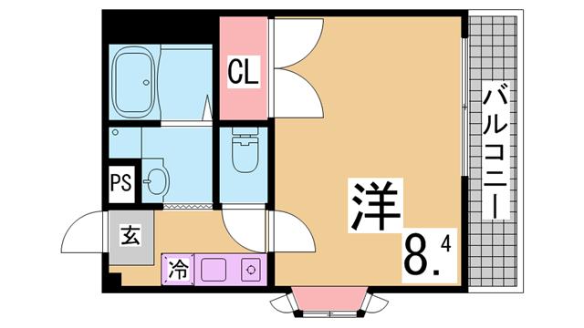 物件番号: 1111288473  神戸市兵庫区荒田町3丁目 1K ハイツ 間取り図