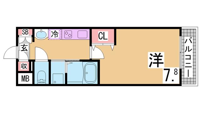 物件番号: 1111288636  神戸市北区鈴蘭台西町1丁目 2DK マンション 間取り図