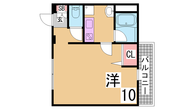 物件番号: 1111288753  神戸市須磨区松風町5丁目 1K マンション 間取り図