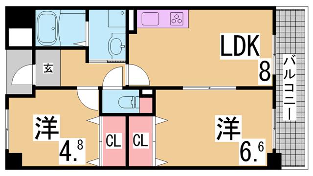 物件番号: 1111288762  神戸市兵庫区熊野町2丁目 2DK マンション 間取り図