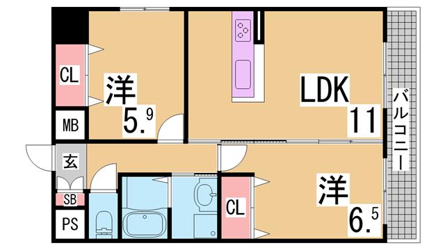 物件番号: 1111288815  神戸市須磨区若木町1丁目 2DK マンション 間取り図