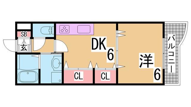 物件番号: 1111288822  神戸市須磨区白川台6丁目 1DK マンション 間取り図