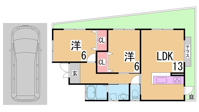 物件番号: 1111288923 東大池2丁目戸建  神戸市北区東大池2丁目 2LDK 貸家 間取り図