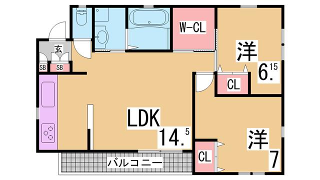 物件番号: 1111288957  神戸市北区甲栄台5丁目 2LDK ハイツ 間取り図
