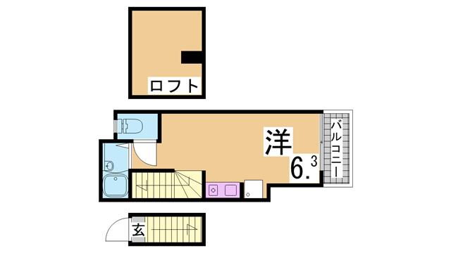 物件番号: 1111289064  神戸市長田区六番町8丁目 1SK アパート 間取り図