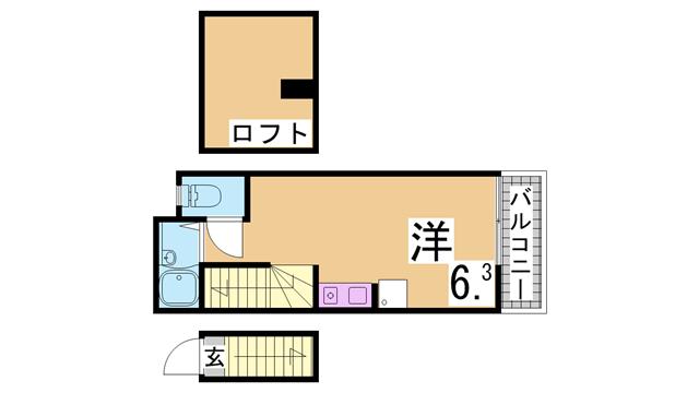 物件番号: 1111289124 サンリーブル  神戸市長田区六番町8丁目 1SK アパート 間取り図