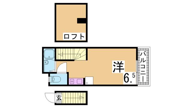 物件番号: 1111289134  神戸市長田区六番町8丁目 1SK アパート 間取り図