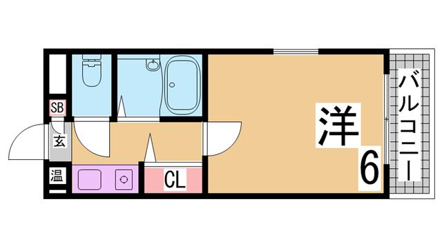 物件番号: 1111289232 ニューキャッスル  神戸市長田区久保町3丁目 1K マンション 間取り図