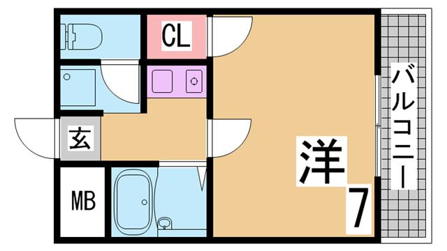 物件番号: 1111289537  神戸市長田区北町2丁目 1K マンション 間取り図
