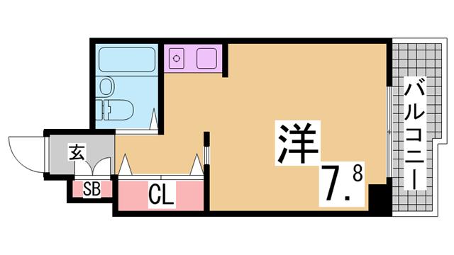 物件番号: 1111289811  神戸市垂水区学が丘4丁目 1K マンション 間取り図