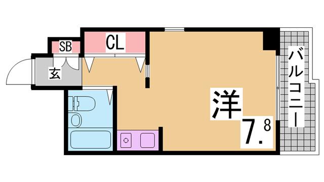 物件番号: 1111289812  神戸市垂水区学が丘4丁目 1K マンション 間取り図