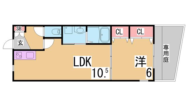 物件番号: 1111289826  神戸市長田区蓮宮通4丁目 1LDK アパート 間取り図