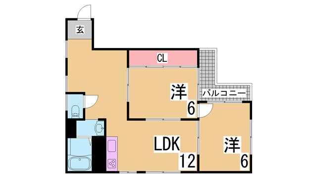 物件番号: 1111289830 グレイスハイツ板宿  神戸市須磨区大田町3丁目 2LDK マンション 間取り図