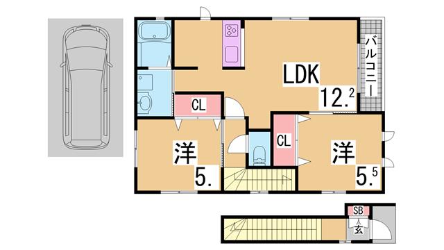物件番号: 1111289838  神戸市北区東大池3丁目 2LDK ハイツ 間取り図
