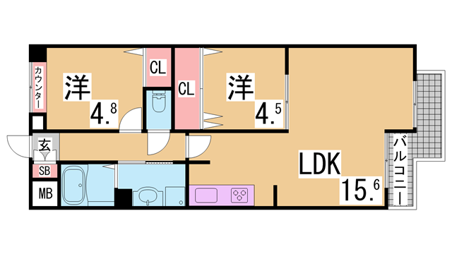 物件番号: 1111289844 ワコーレ長田綜合ビル  神戸市長田区四番町7丁目 2LDK マンション 間取り図