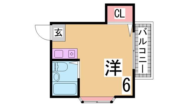 物件番号: 1111289845  神戸市垂水区塩屋町9丁目 1R ハイツ 間取り図