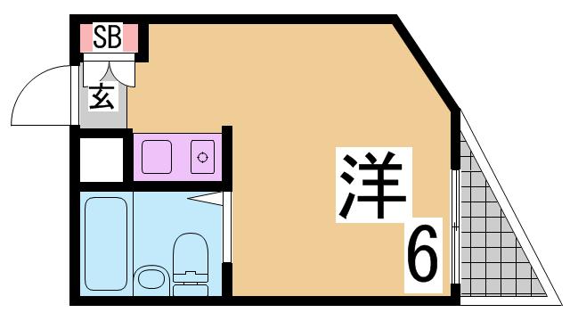 物件番号: 1111289850  神戸市兵庫区東出町2丁目 1R マンション 間取り図