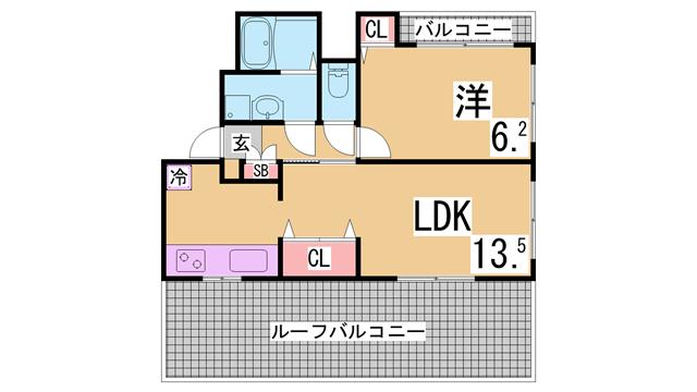 物件番号: 1111289854  神戸市垂水区旭が丘2丁目 1LDK マンション 間取り図