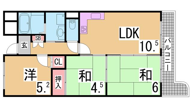 物件番号: 1111289855  神戸市垂水区塩屋町9丁目 3LDK マンション 間取り図