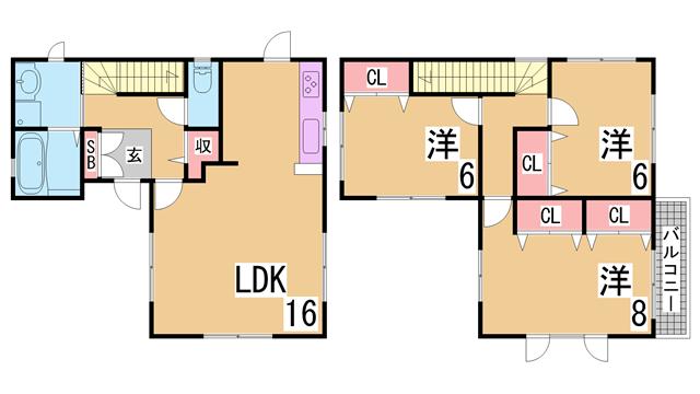 物件番号: 1111289869  西宮市北六甲台3丁目 3LDK 貸家 間取り図
