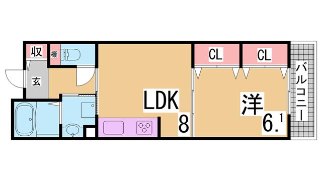 物件番号: 1111289873 フレール長田大道  神戸市長田区大道通3丁目 1LDK マンション 間取り図