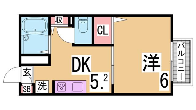 物件番号: 1111289877  神戸市北区有野中町3丁目 3DK ハイツ 間取り図