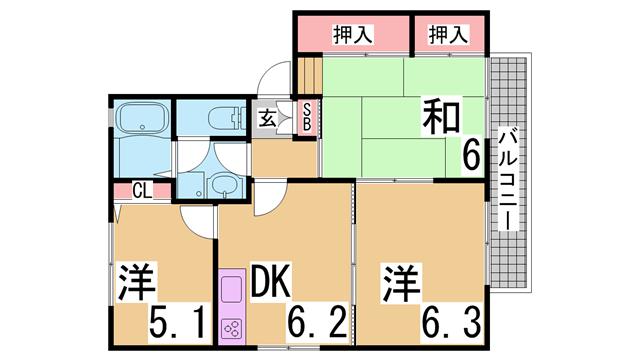 物件番号: 1111289883  神戸市垂水区清玄町 3DK ハイツ 間取り図