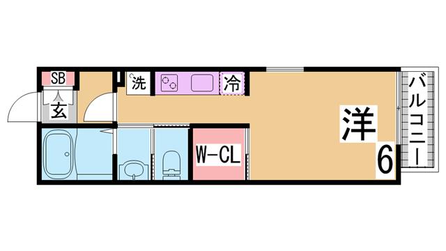物件番号: 1111289889  神戸市垂水区旭が丘2丁目 1K アパート 間取り図