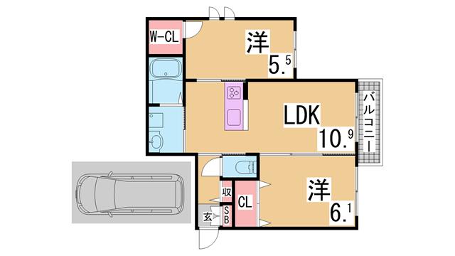 物件番号: 1111289892 シャーメゾンクオレール  神戸市垂水区名谷町字平ノ垣内 2LDK アパート 間取り図