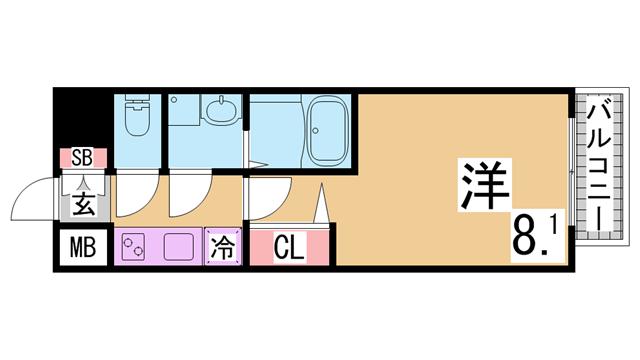 物件番号: 1111289893  神戸市兵庫区中道通1丁目 1K マンション 間取り図