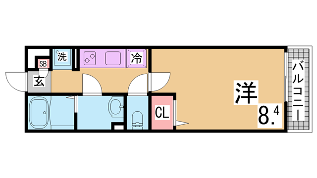 物件番号: 1111290027  神戸市兵庫区芦原通6丁目 1K マンション 間取り図