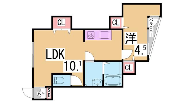 物件番号: 1111290090  神戸市北区鈴蘭台北町5丁目 1LDK アパート 間取り図