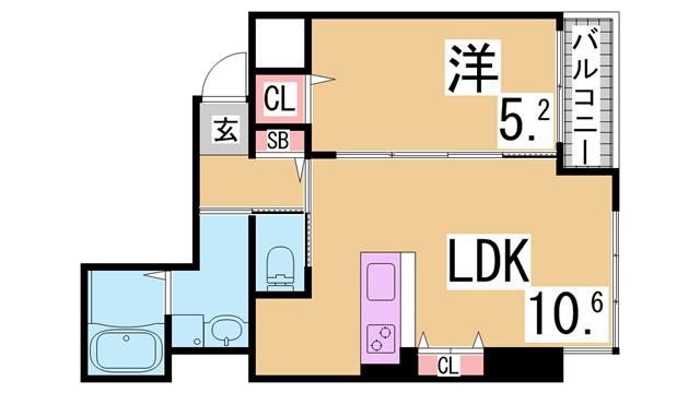 物件番号: 1111290091 ヴィアノ塩屋町  神戸市垂水区塩屋町3丁目 1K マンション 間取り図