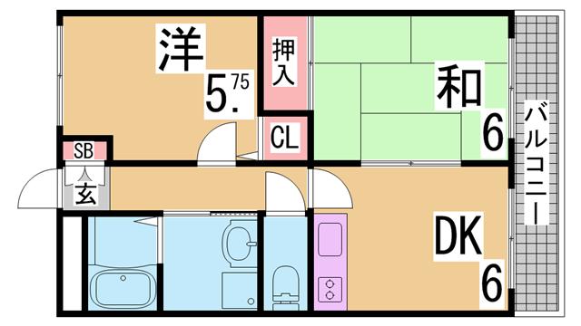 物件番号: 1111290386  神戸市須磨区妙法寺字界地 2DK マンション 間取り図