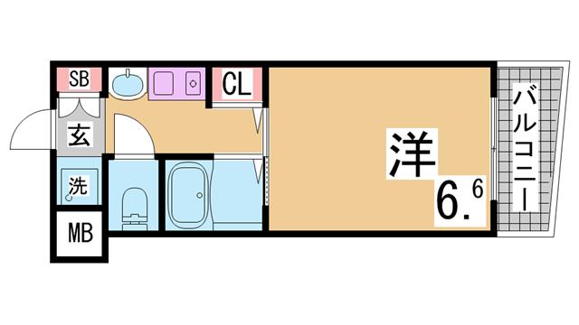 物件番号: 1111290704  神戸市兵庫区新開地6丁目 1K マンション 間取り図