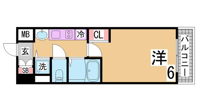 物件番号: 1111290710  神戸市兵庫区三川口町3丁目 1K マンション 間取り図