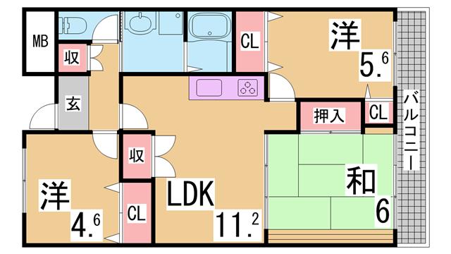 物件番号: 1111290716  神戸市兵庫区浜崎通 3LDK マンション 間取り図