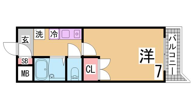 物件番号: 1111290720 セグンド・エビスヤ  神戸市須磨区白川台1丁目 1K マンション 間取り図